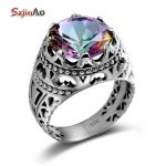 Szjinao Sale Vintage <b>Jewelry</b> Round Topaz Cubot Rainbow 925 Sterling <b>Silver</b> Crystal Big Rings for Women and Men Gifts