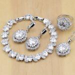 925 <b>Silver</b> Jewelry White Cubic Zirconia Jewelry Sets For Women Party Earrings/Pendant/Necklace/Rings/<b>Bracelet</b>