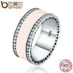 BAMOER Real 925 Sterling Silver Radiant Hearts & Light Pink Enamel Clear CZ Wide Band Ring for Women Engagement <b>Jewelry</b> PA7624