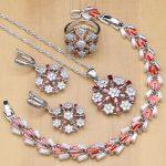 Flower Shaped 925 <b>Silver</b> Jewelry Sets Red CZ White Crystal Beads For Women Wedding Earrings/Pendant/Necklace/Rings/<b>Bracelet</b>
