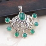 FNJ 925 Silver Flower Pendant New Fashion Green Chalcedony Pure S925 Solid Thai Silver Pendants for Women Men <b>Jewelry</b> <b>Making</b>