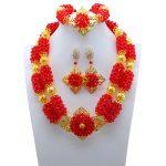 <b>Handmade</b> African Beads <b>Jewelry</b> Set Deep Red Necklace Set Nigerian Wedding <b>Jewelry</b> Set Free Shipping