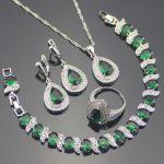 Green Zirconia Costume Bridal <b>Jewelry</b> Sets Wedding Luxury Silver 925 <b>Jewelry</b> Women Earrings Ring Bracelet Necklace Set Gift Box