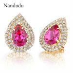 Nandudu Waterdrop Stud Earrings Colorful Austrian Crystal with AAA Zircon Earring <b>Accessories</b> Fashion <b>Jewelry</b> Gift E367E368E369