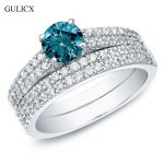 GULICX 2017 Romantic Engagement <b>Accessories</b> Three layers no fade double circle cz crystal Exquisite Unique <b>Jewelry</b> Ring for Lady