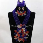 <b>Handmade</b> Big Flowers Pendant Necklace Royal Blue Nigerian Crystal Beads African Women Costume <b>Jewelry</b> Set Free Shipping ABL064