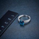 Hutang Genuine London Blue Topaz Twisted Ring Solid 925 <b>Sterling</b> <b>Silver</b> Gemstone Fine <b>Jewelry</b> for Women Xmas Gift 2017 New