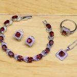 Red Zircon White CZ Jewelry Sets 925 Sterling <b>Silver</b> Jewelry For Women Earrings/Pendant/Necklace/Rings/<b>Bracelet</b>