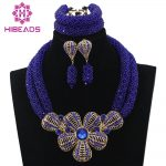 Royal Blue African Beads <b>Jewelry</b> Set for Nigerian Wedding Crystal Rhinestone Pendant Bib <b>Necklace</b> Set Gift Free Shipping WD206