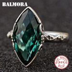 BALMORA 925 Sterling Silver Rhombic Crystal Rings for Women Party Gift Classic Fashion Silver Ring <b>Jewelry</b> Anillos TRS22092