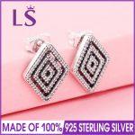 LS Hot Sale 925 Sterling Silver Geometric Lines Stud Earrings For Women Wedding Party Fine <b>Jewelry</b> <b>Making</b> Christmas Gift W