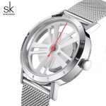Shengke Luxury Quartz Watch Women <b>Silver</b> <b>Bracelet</b> Watches Stainless Steel Relojes Mujer 2018 SK Creative Ladies Watches #8280