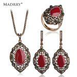 Madrry Brand Royal Design Turkish Vintage <b>Jewelry</b> Sets Necklace & Earrings & Ring <b>make</b> you looks like thin Classy Enamel Craft