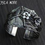 Fyla Mode Europe Selling 925 Thai <b>Silver</b> Hollow Opening <b>Bracelet</b> Geometry Butterfly Flowers <b>Bracelets</b> Bangle 40mm Width 56G