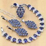 Punk Blue Cubic Zirconia White CZ 925 Sterling <b>Silver</b> Jewelry Sets For Women Party Earrings/Pendant/Necklace/Rings/<b>Bracelets</b>