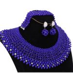 Fashion Jewelry Sets Womens Accessories Royal Blue and <b>Silver</b> Costume Jewellery Set For Ladies Nigerian Wedding African Beads