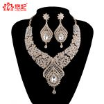 Statement India style Necklace earrings sets Bridal wedding Party Necklace Water Drop Type Golden Plated Crystal <b>Jewelry</b> Sets