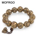MOFRGO Vintage Bead Metal Bracelet Men Copper Carved Sanskrit Om Prayer Tibetan Mala Meditation Bracelets For Women <b>Jewelry</b> Gift