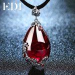 EDI Retro Royal Garnet Gemstone 100% 925 Sterling <b>Silver</b> Natural Chalcedony Pendant Necklace Female Fine <b>Jewelry</b>