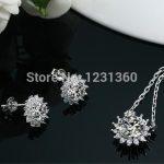 Fashion Wedding Bridal Jewelry Set 925 Stamped <b>Silver</b> Necklace <b>Earrings</b> Sets For Women,High Quality Austrain Cubic Zirconia