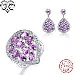 J.C Female Girl Amethyst Topaz Fine Jewelry Genuine Solid 925 Standard Sterling <b>Silver</b> Ring & <b>Earring</b> New Trendy Jewelry Set