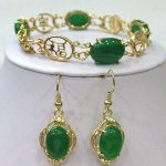 real silver-<b>jewelry</b> Women's Wedding Green stone Beads Link bracelet earrings set Bridal wide watch queen J