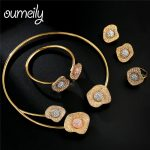 OUMEILY African Beads Jewelry Set in Rose Gold <b>Silver</b> Color Shell Design Indian Bridal Jewelry Sets For Women Elegant Party Gift