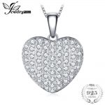 JewelryPalace Heart Love 1.5ct Round Pendant Real 925 Sterling <b>Silver</b> 18 Inches Women's <b>Necklace</b> Wedding Jewelry