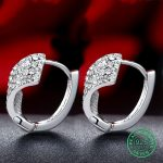 925 Sterling <b>Silver</b> Hoop <b>Earrings</b> For Women Real Pure Elegant Fine Female Miss Mother Gift Party 2017 New Trendy Good Upscale