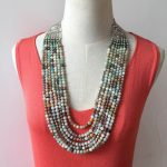 CLEOPATRA STONE <b>NECKLACE</b> Brand Stella Vintage <b>Silver</b> Semi-Precious Amazonite Beads Dot Strand Neutral Statement <b>Necklace</b>