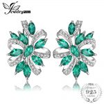 JewelryPalace Luxury 5.4ct Created Emerald Halo Clip <b>Earrings</b> Solid 925 Sterling <b>Silver</b> <b>Earrings</b> For Women Gift Fine Jewelry New