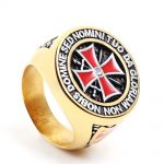 Monla <b>antique</b> stainless steel gold/silver Red iron knights templar men cross ring cubic zirconia setting <b>jewelry</b>