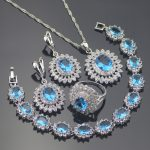 925 Silver Costume <b>Jewelry</b> Sets Women Wedding Earrings With Stones Blue Zircon Pendant&Necklace Rings Bracelets Set Gift Box