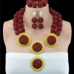 2016 Latest Nigerian Wedding <b>Jewelry</b> Sets Costume <b>HandMade</b> Crytal Chunky Ball African Bride Dark Red <b>Jewelry</b> Set Free Shipping