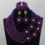 2017Luxury Trendy Fashion African Jewellery Set Purple <b>Handmade</b> Beaded Crystal Party Necklace Set for Brides Free ShippingABL796