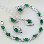Eye Shaped Green Created Emerald White Crystal 925 <b>Silver</b> Jewelry Sets For Women Wedding Earring/Pendant/Necklace/<b>Bracelet</b>/Ring