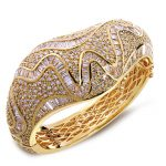 New Unique Fashion Women 2014 Banquet Party Luxury <b>Wedding</b> <b>Jewelry</b> White Color AAA Cubic Zirconia Micro Pave Setting Bangles