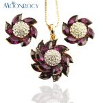 MOONROCY Free Shipping <b>jewelry</b> Cubic Zirconia Rose Gold Color Purple Crystal <b>Necklace</b> and Earring <b>Jewelry</b> Set for Women