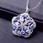 natural blue tanzanite pendant S925 <b>silver</b> Natural gemstone Pendant Necklace trendy Luxury round Fire wheel women gift <b>jewelry</b>