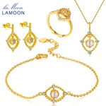 LAMOON 2018 New 925-sterling-<b>silver</b> Natural Moonstone 4PCS Jewelry Sets S925 Fine Jewelry for Women Wedding V046-1