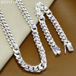 Classic Sideways 10mm Men Chain Necklace <b>Bracelet</b> 925 <b>Silver</b> Necklace <b>Bracelet</b> Set Jewelry Gift 136g
