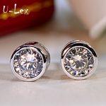 ULex Korean <b>Earrings</b> Geometric Trendy High-Carbon Diamond Stud <b>Earrings</b> 0.5ct 1ct 925 Sterling Sliver <b>Earring</b> For Women