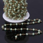 5Meter,Wire Wrapped Green color Glass Beads Chains,Faceted Rondelle Rosary Chain,Women Necklace <b>Jewelry</b> <b>Making</b> 3x4mm
