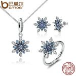 BAMOER 925 Sterling Silver Crystalize Snowflake Blue Crystals Clear CZ Bridal <b>Jewelry</b> Sets Sterling Silver Christmas Gift ZHS006