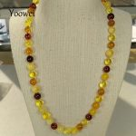 Yoowei 50cm 18g Natural Amber Necklace Original Genuine Round Beads Women Gift Baltic Amber <b>Jewelry</b> Necklace <b>Supplies</b> Wholesale
