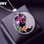 100% natural garnet pendant Necklace Genuine citrine 925 <b>sterling</b> <b>silver</b> gem green peridot stone Fine <b>jewelry</b> Noble Birthstone