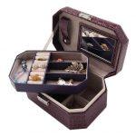 Double Layers Crocodile Grain <b>Jewelry</b> Box Organizer Detachable Ring Earring <b>Jewelry</b> Display Holder with Mirror boite a bijoux