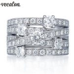 Vecalon Fashion <b>Jewelry</b> Cross Ring 925 Sterling Silver 5A Zircon Cz Engagement <b>Wedding</b> Band rings for women men Finger ring Gift