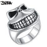 ZABRA Real Solid 925 Sterling Silver Gothic Skull Laugh Ring For Punk Biker Men Vintage Thai Retro <b>Handmade</b> Craft Mens <b>Jewelry</b>
