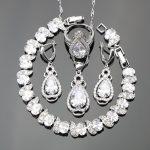 Classic Water Drop Jewelry Sets <b>Silver</b> 925 Pure White Cubic Zirconia <b>Bracelets</b>/Earrings/Pendant/Necklace/Rings For Women